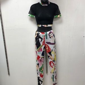 2 pc crop top and pants